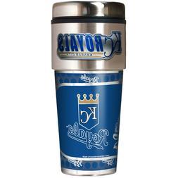 KANSAS CITY ROYALS 16 OZ STAINLESS STEEL COFFEE TRAVEL MUG W