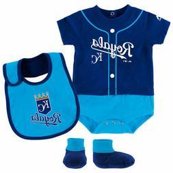 Kansas City Royals 3pc Creeper, Bib Booties Set Infant Baby
