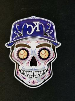 Kansas City Royals 3x4 Sugar Skull Vinyl Sticker Decal Weath