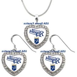 Kansas City Royals 925 Necklace / Earrings or Set Team Heart