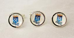 Kansas City Royals Cufflinks and Tie Tack Set Upcycled from