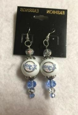 KANSAS CITY ROYALS EARRINGS DANGLE JEWELRY GLASS BEADED BASE