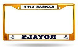 Kansas City Royals GOLD Chrome Frame Metal License Plate Tag