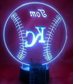 Kansas City Royals MLB KC Baseball Light Up Lamp LED, Remote