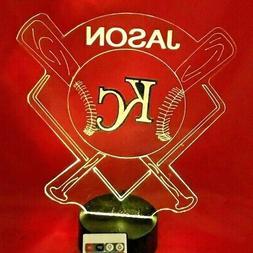 Kansas City Royals MLB Baseball Personalized FREE Light Up L