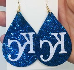 KC Kansas City Royals Women's Blue Sparkle Earrings | KC Roy