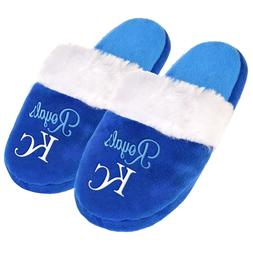 KC Kansas City Royals Womens Colorblock Fur Slide Slippers M