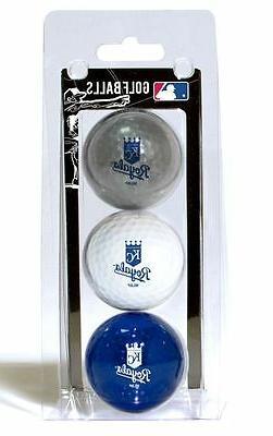 Kansas City Royals 3 Pack Golf Balls  MLB KC White Golfing P