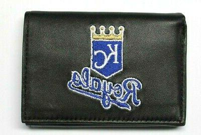 kansas city royals embroidered leather trifold wallet