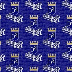 MLB Baseball Kansas City Royals Logos Dark Blue Cotton Fabri