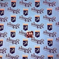 MLB Baseball Kansas City Royals Logos Sky Blue Cotton Fabric