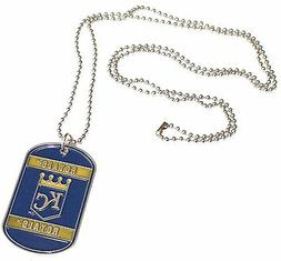 "MLB Kansas City Royals Dog Tag Necklace Engravable 26"" Chrom"
