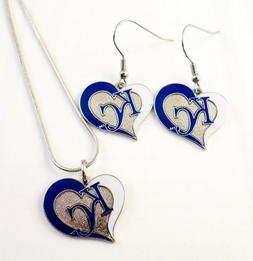 "MLB ""KANSAS CITY ROYALS"" Necklace/ Earring Set Baseball spor"