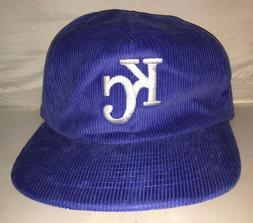 Vtg Kansas City Royals Corduroy Strapback hat cap rare 80s 9