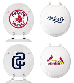 MLB Toilet Seat White Round Molded Wood w/Team Logo Decal on